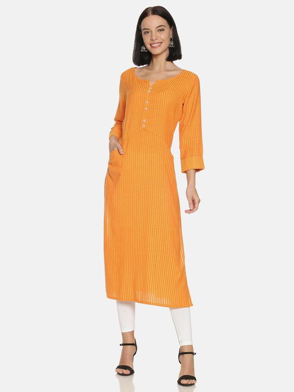 Orange Kurta With 3/4 Roll Up Sleeves
