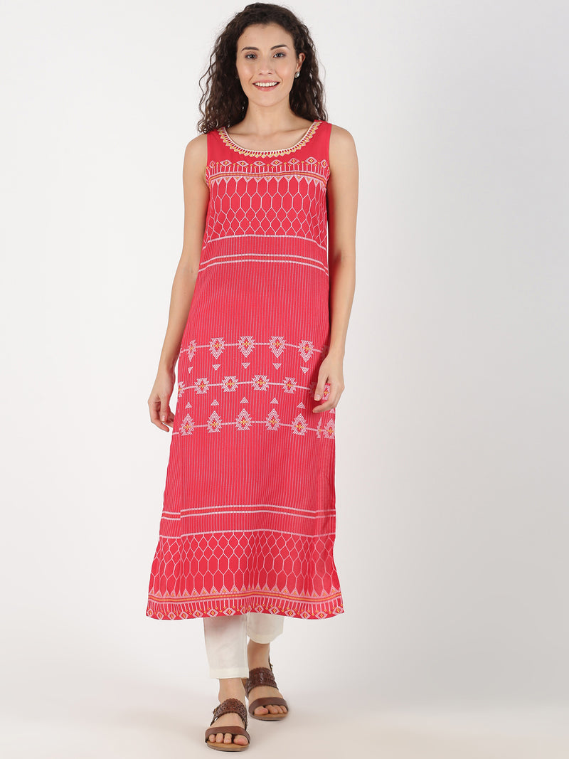 Coral Kurta With Print And Neck Embroidery