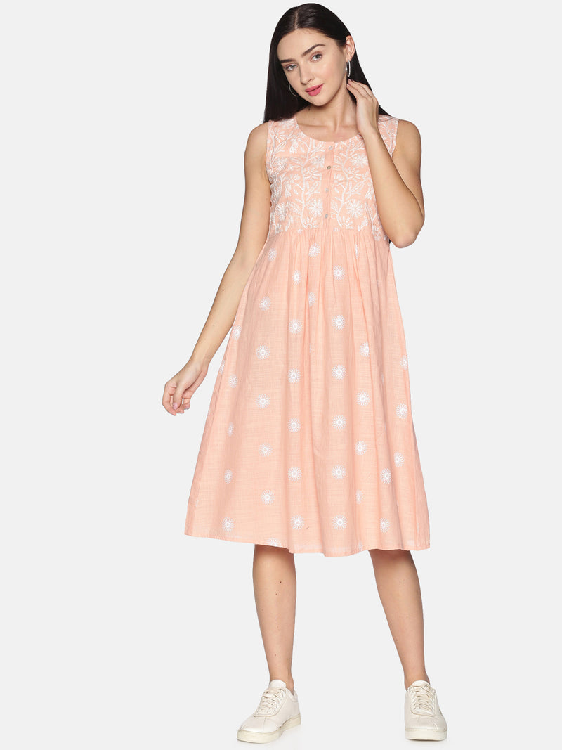 Peach Lucknowi Embroidery Sleeveless Dress