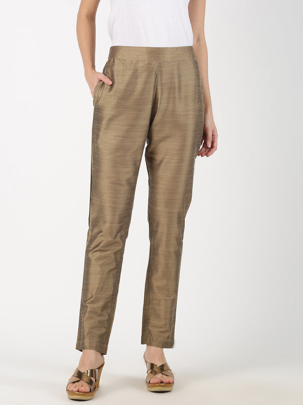 Gold Slub Straight Pant
