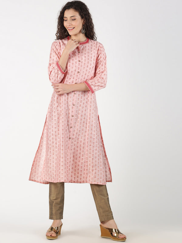 Pink Rayon Slub Kurta With Print And Collar Embroidery