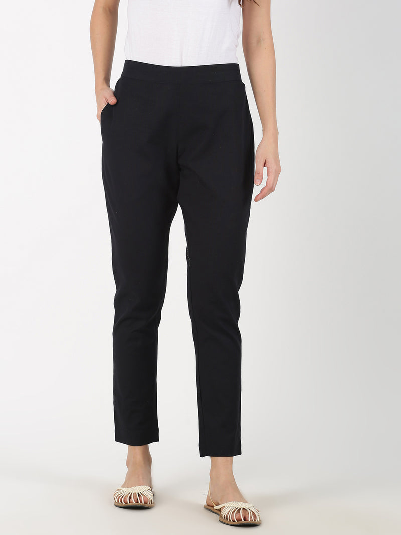 Black Cotton Flax Straight Pant