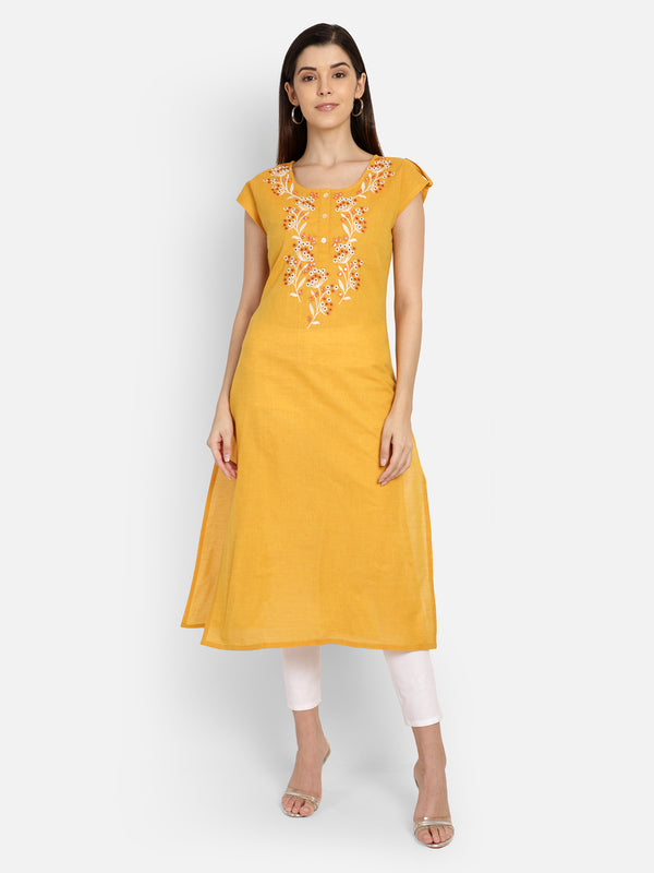Mustard Cotton Neck Embiordery Kurta