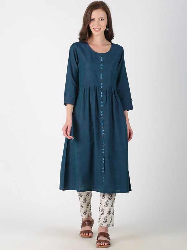 Teal Kurta With Placket Embroidery And 3/4 Sleeves