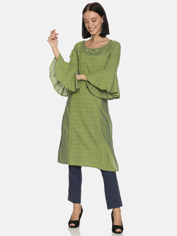 Green Kurta With Flared Sleeves And Handwork On Neck