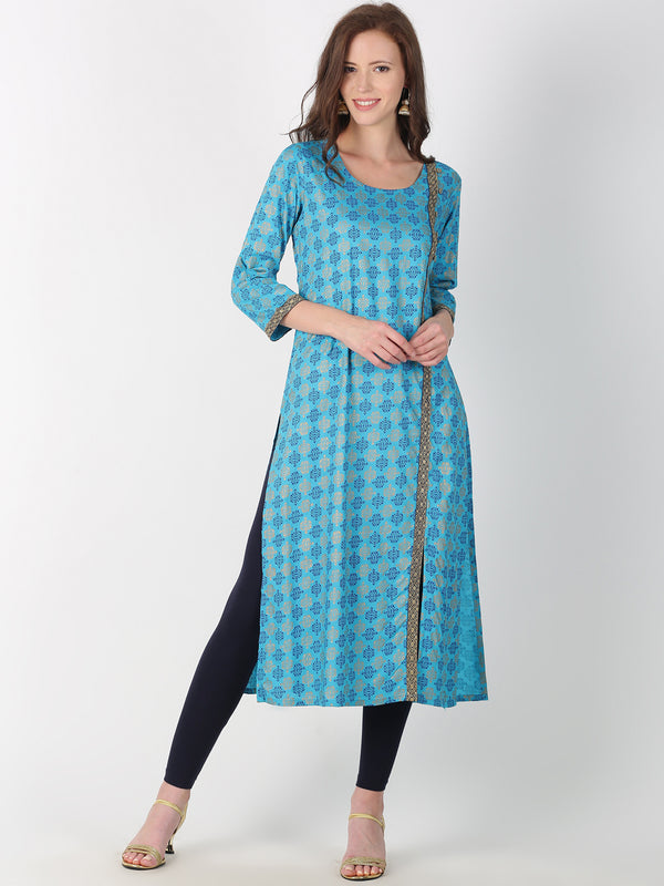 Blue Rayon All Over Print Kurta