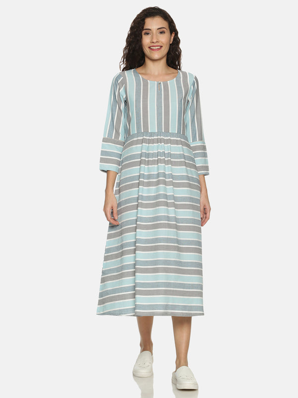 Blue Stripes This Or That Kurta With 3/4 Sleeves