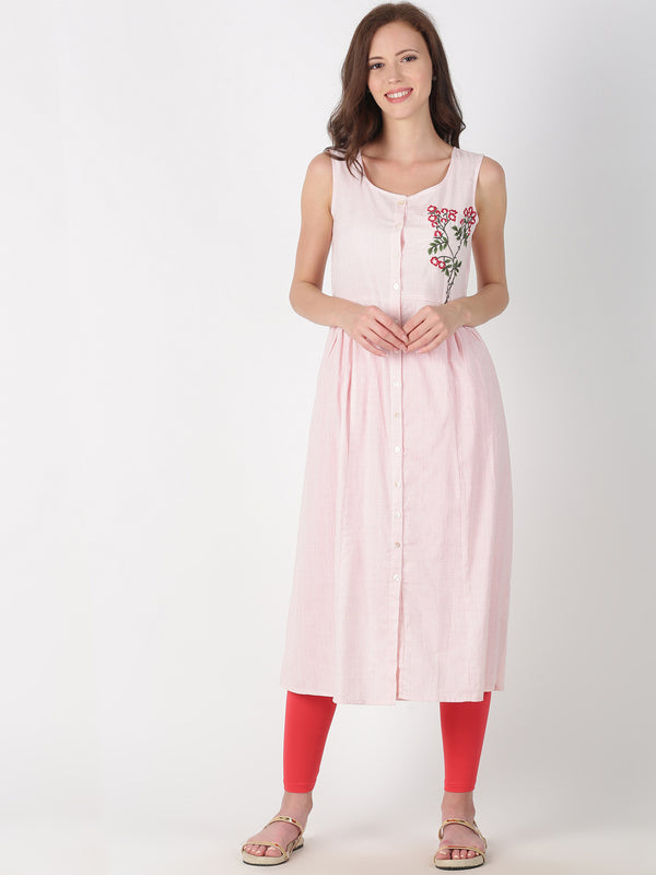 Pink Cotton Kurta With Placement Embroidery