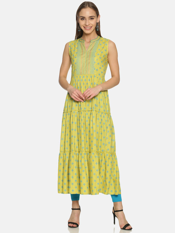 Lime Green Rayon Tiered Kurta With Print