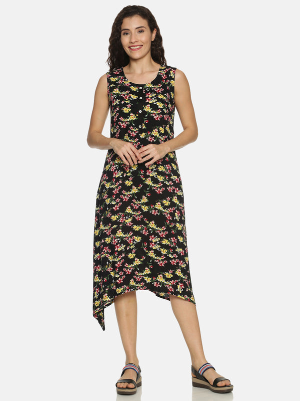 Black Rayon Floral Printed Aysmmetric Dress