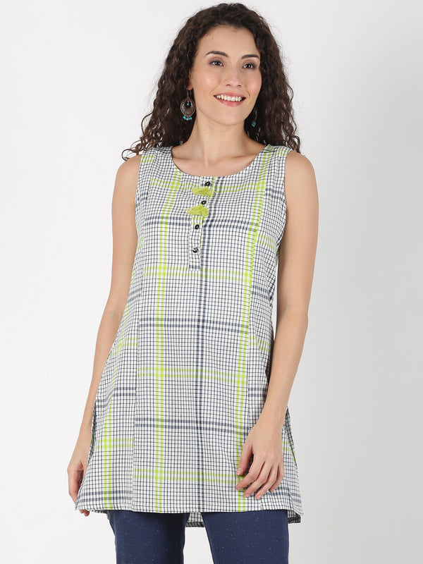 White Cotton Checks Tunic