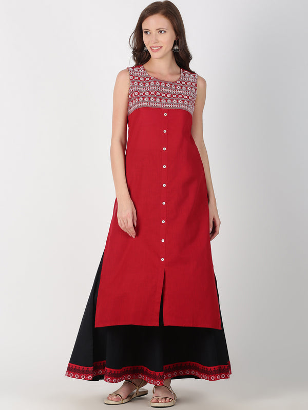Maroon Cotton Kurta With Heavy Neck Embroidery