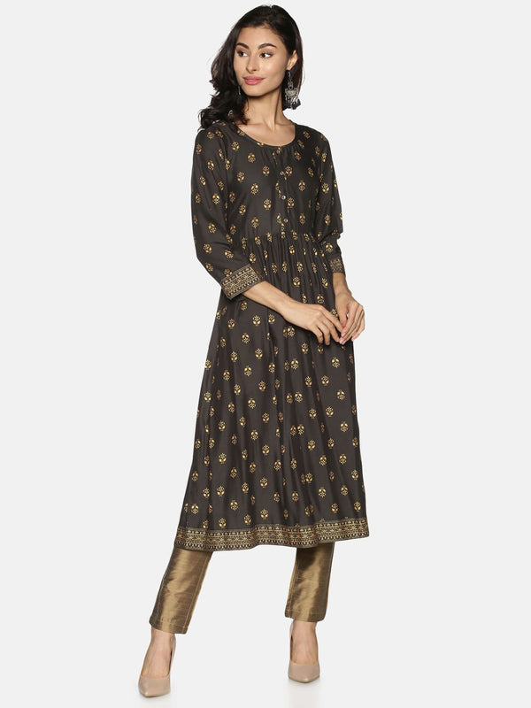 Grey Rayon Gold All Over Print & Border Kurta