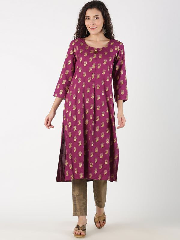 All Over Gold Print Purple Rayon Kurta