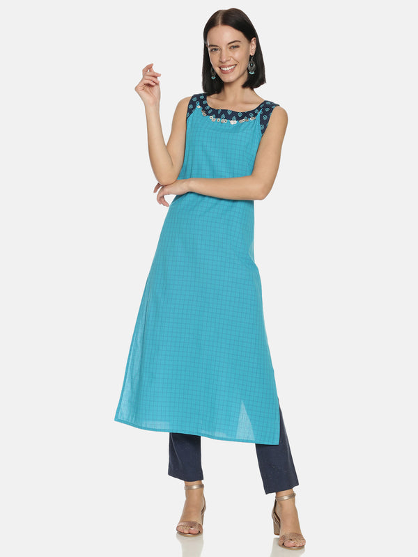 Boat Neck Turq Blue Checks Kurta with Handwork