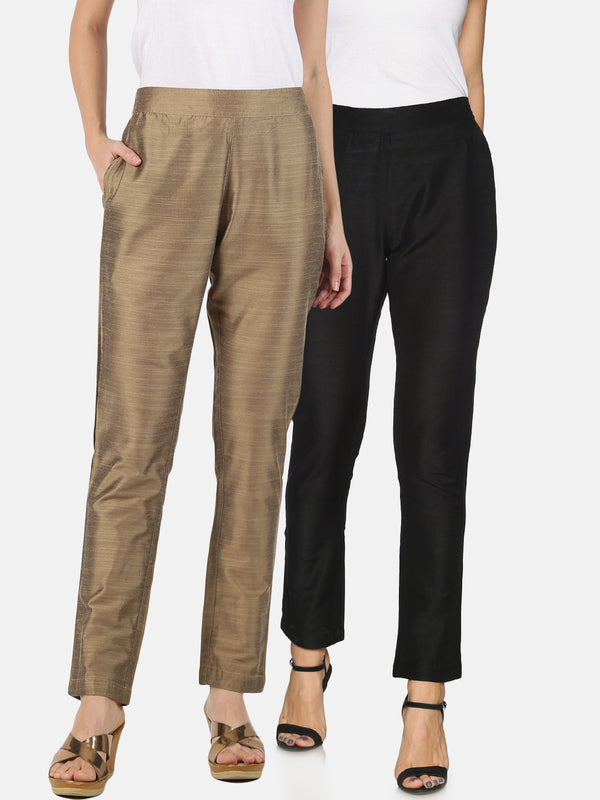 Pack of 2 Rayon Slub Trousers Black and Gold