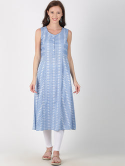 Light Blue Cotton Woven Design A-Line Kurta