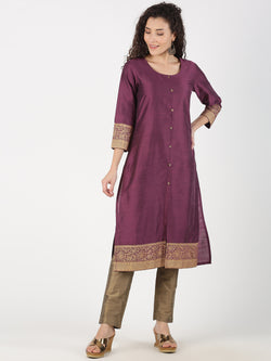 Purple Rayon Slub Kurta With Gold Print Cuff & Hem