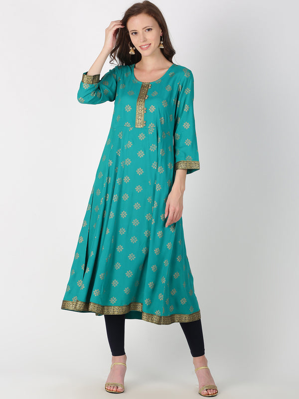 Teal Blue Rayon Gold All Over Print Kurta