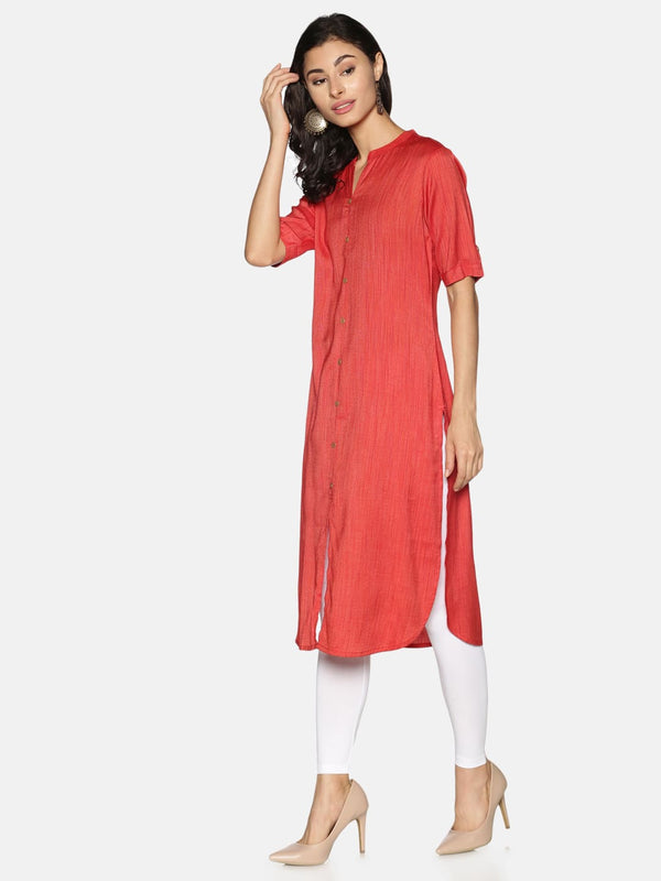Red Rayon Plain Core Kurta