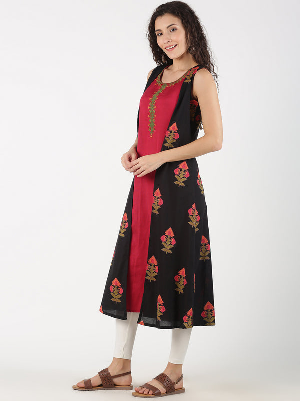 EMBROIDERED KURTA WITH BLACK PRINTED MOCK JACKET