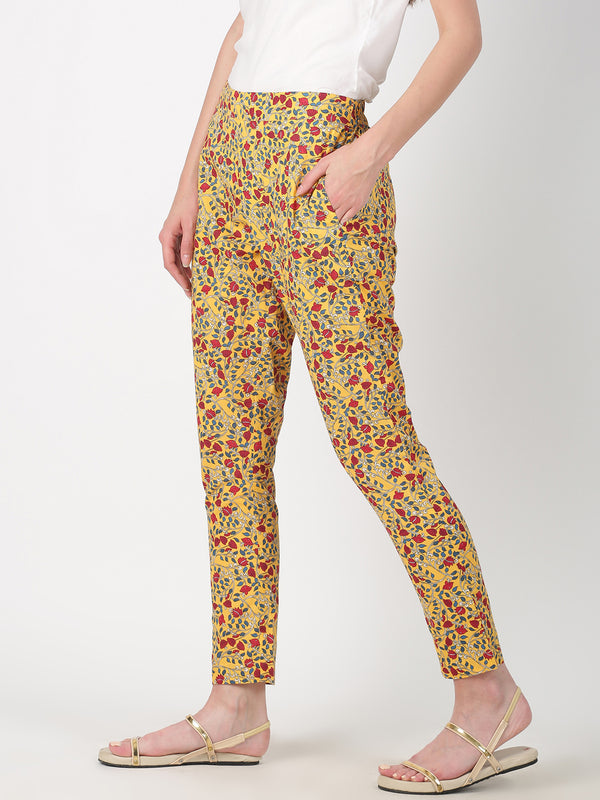 Kalamkari Print Yellow Straight Pant