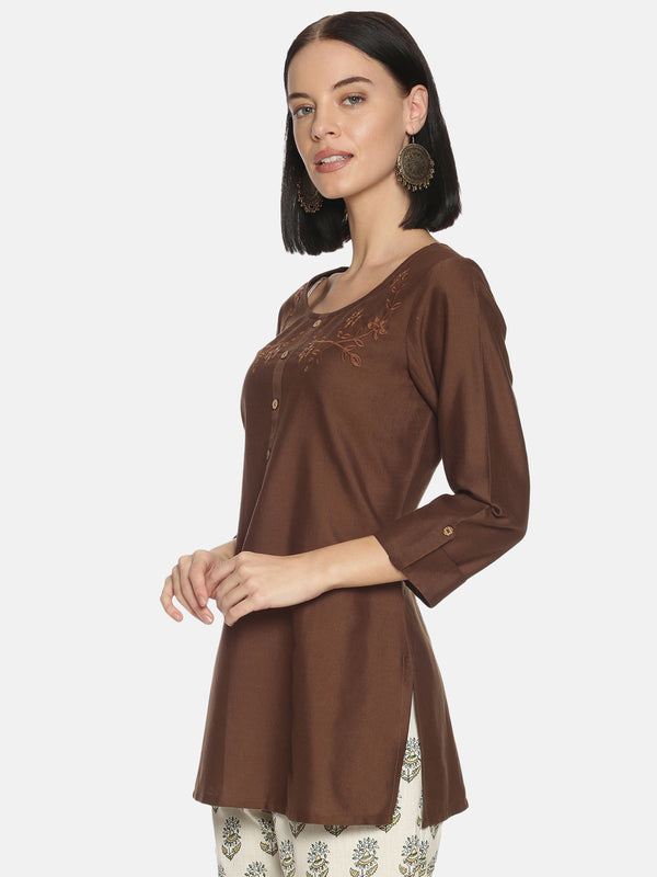 Brown Self Embroidered Tunic
