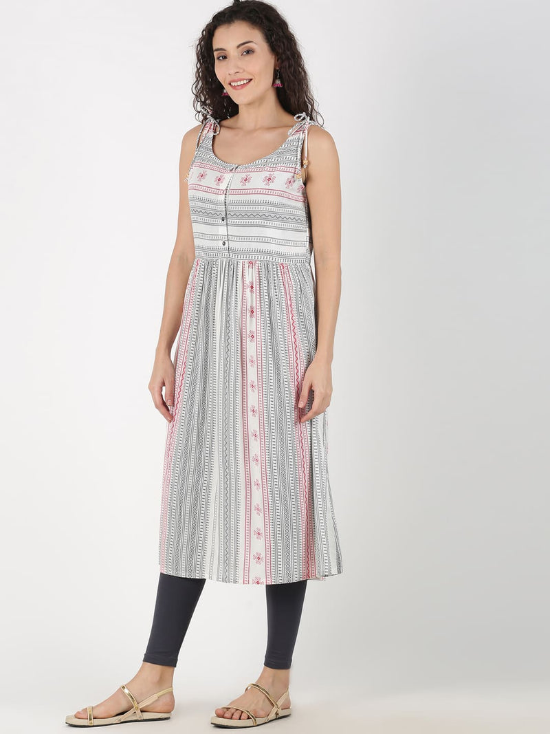 White and Coral Aztec Print Sleeveless Kurta