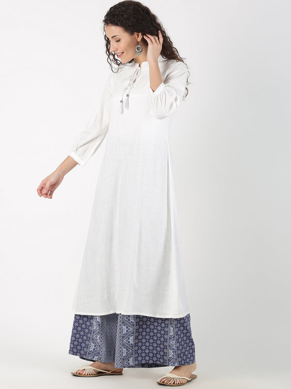 White Kurta With Self Embroidery On Neck