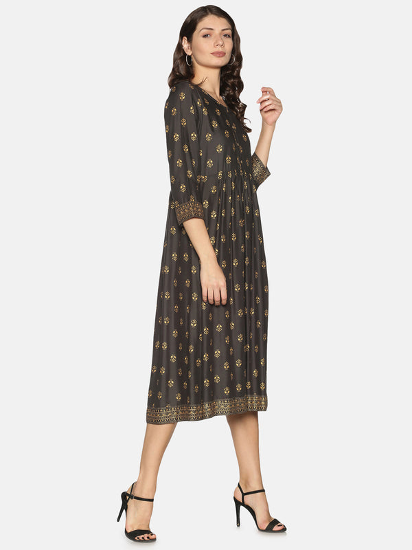 All Over Gold Print Grey Rayon Dress
