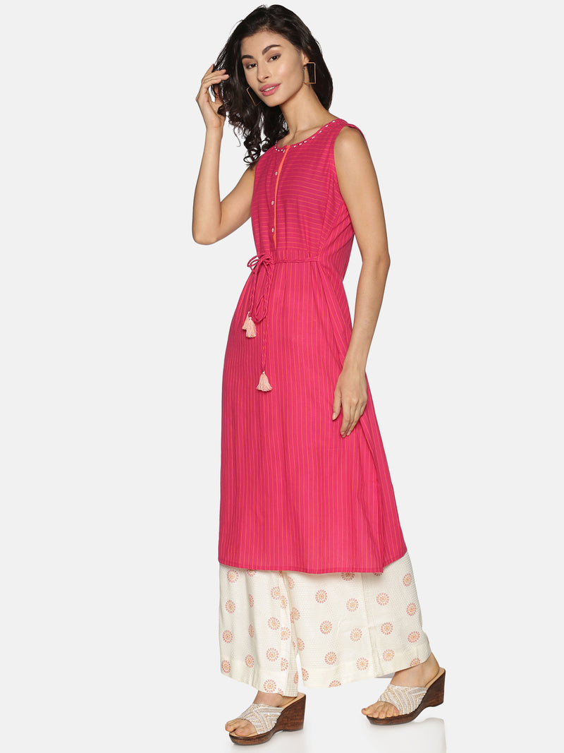 Pink Stripes Sleeveless Kurta