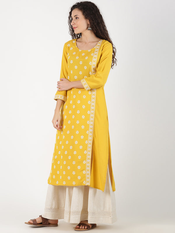 Yellow Buti Print & Embroidered Patti Kurta