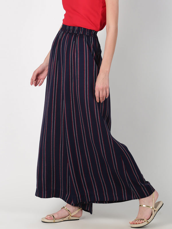 Navy Blue Striped Straight Palazzo