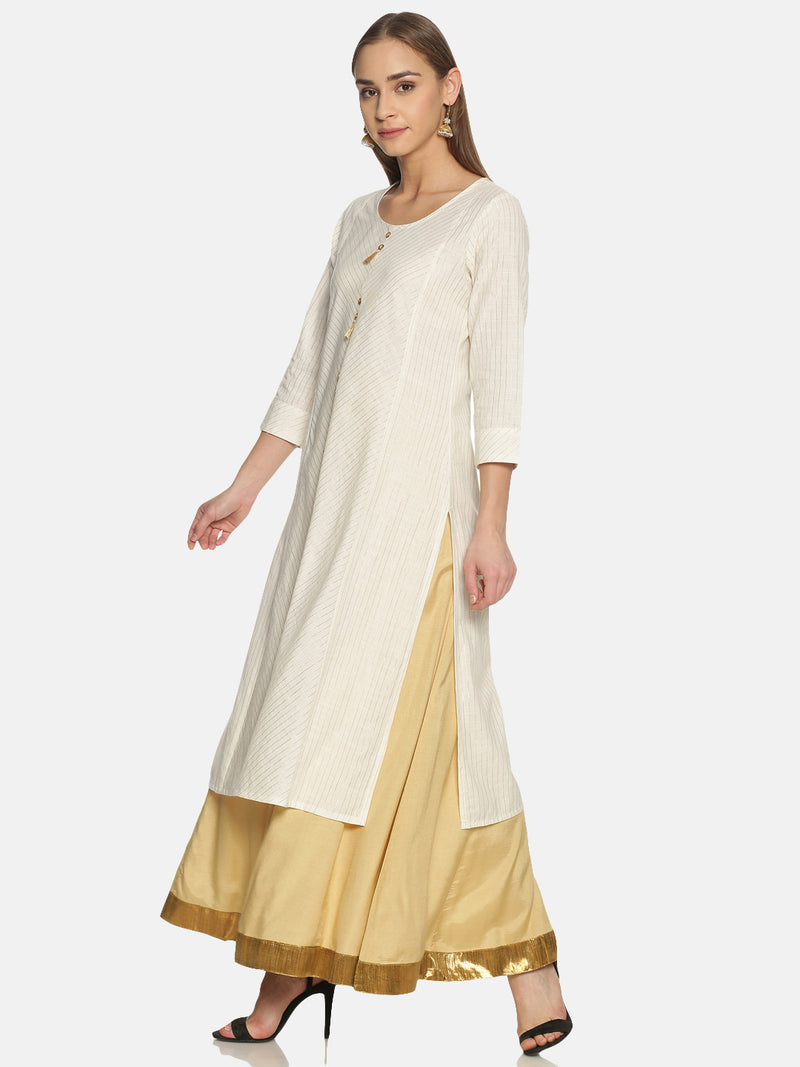 White Stripes Kurta With Gold Lurex