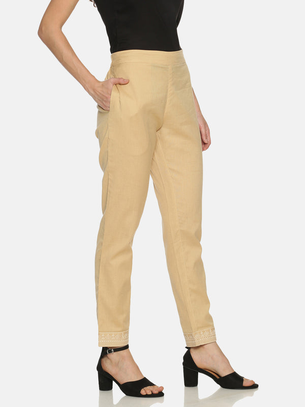 Beige Straight Cotton Flex Embriodered Pants