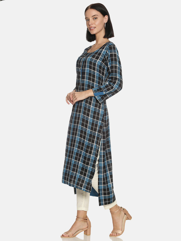 Blue Check Kurta With Round Neck And 3/4 Rollup Sleeves