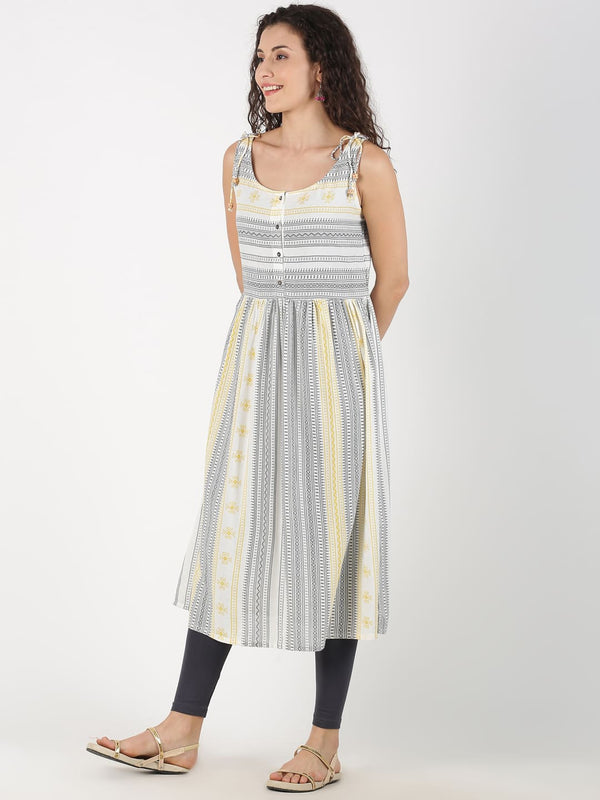 White and Yellow Aztec Print Sleeveless Kurta