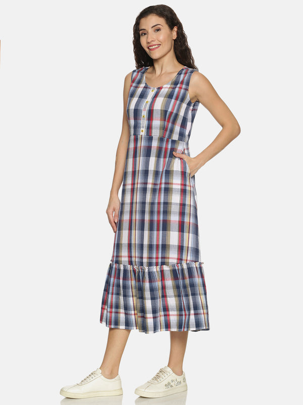 Blue White and Red Checks Sleeveless Tiered Kurta