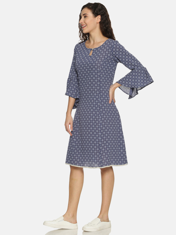 Blue Crepe Printed Dress With Flared Sleeves