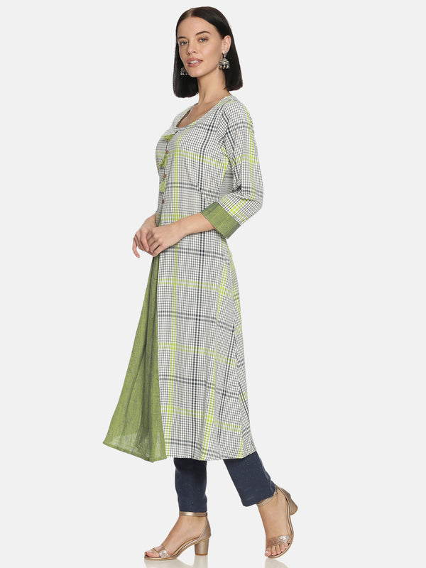 Green Checks Cotton Pleated Kurta