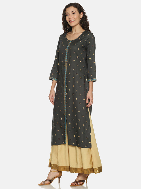 Grey Kurta With Gold Print