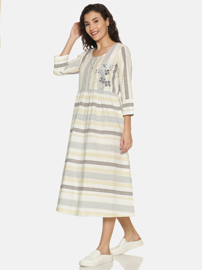 White Stripes Kurta with Embroidery