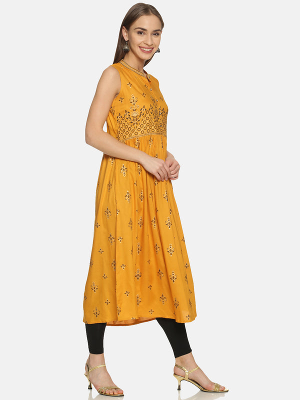 Mustard Kurta With All Over And Placement Print