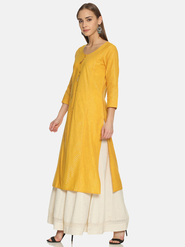 Yellow Stripes Kurta With Gold Lurex