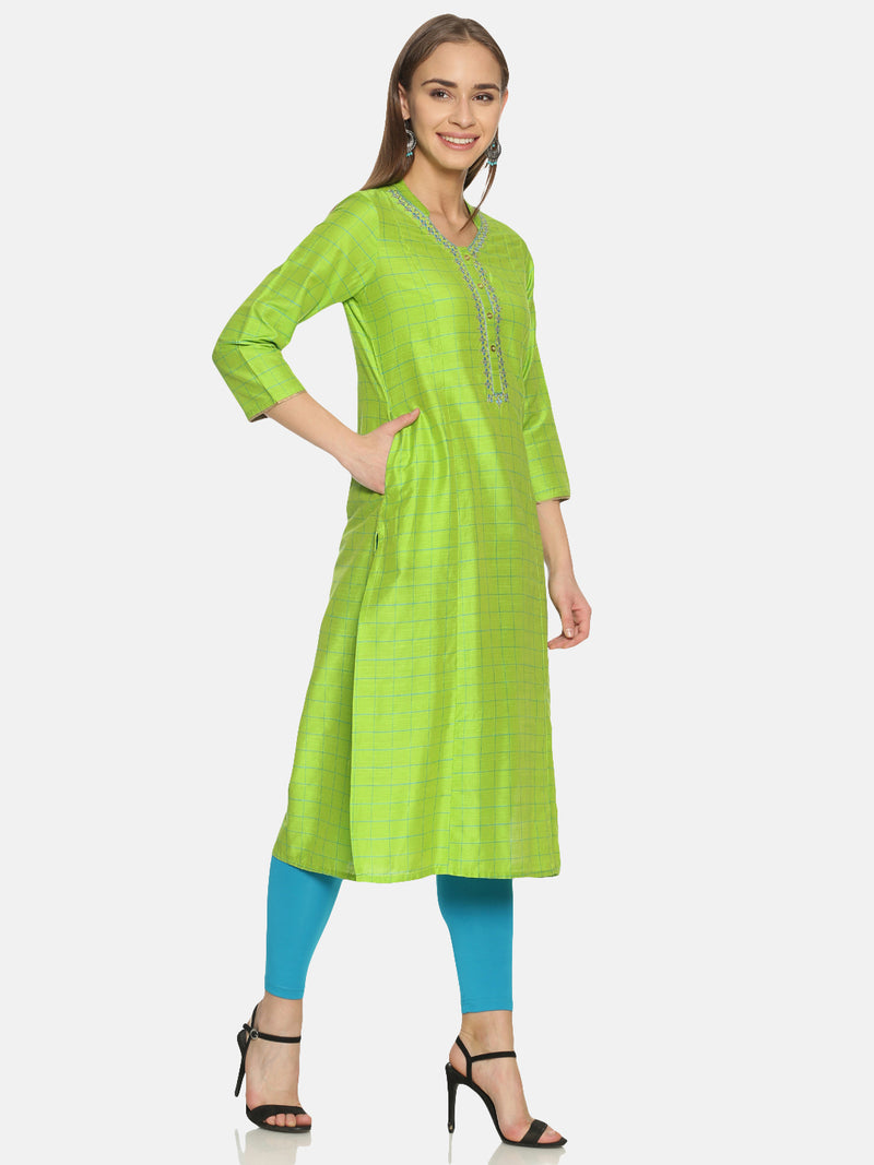 Green Slub Checks Embriodered Neck Kurta