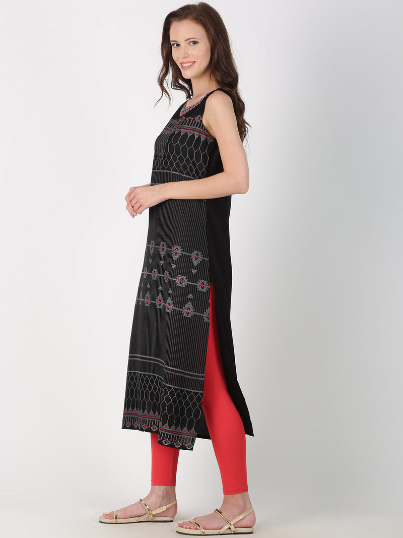 Black Printed Rayon Kurta With Embroidered Neck