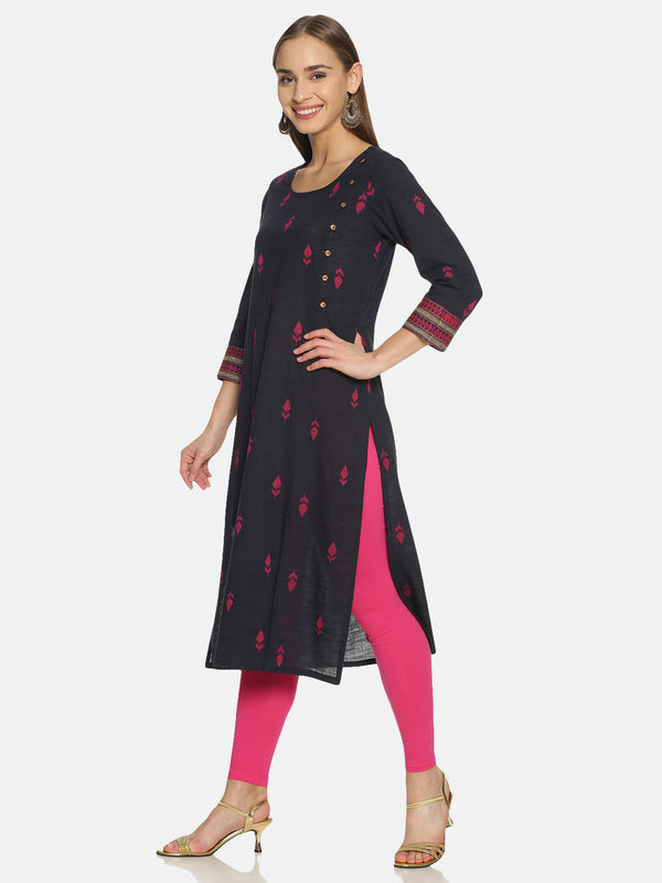 Navy Blue Kurta With Woven Buti Design