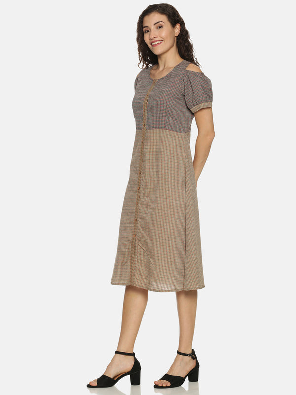 Cold Shoulder Light Brown Checks Woven Kurta