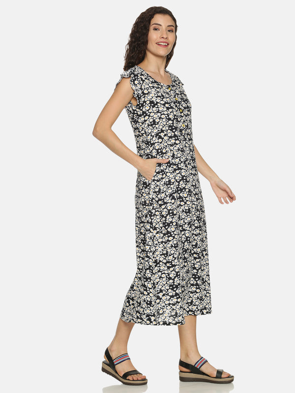 Black Rayon Floral Printed Dress