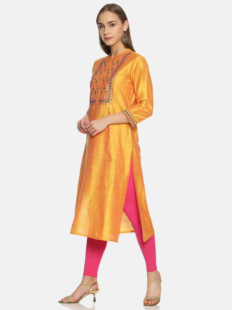 Mustard Kurta With Embroidery And Print
